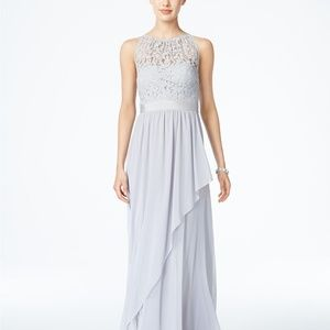 Adrianna Papell Lace Illusion Halter Gown Silver